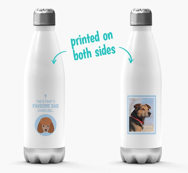'Pawsome Dad...' - Personalized Miniature Poodle Water Bottle