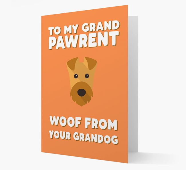 'To My Grandpawrent' - Personalised Airedale Terrier Card