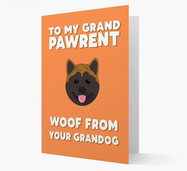 'To My Grandpawrent' - Personalized Akita Card