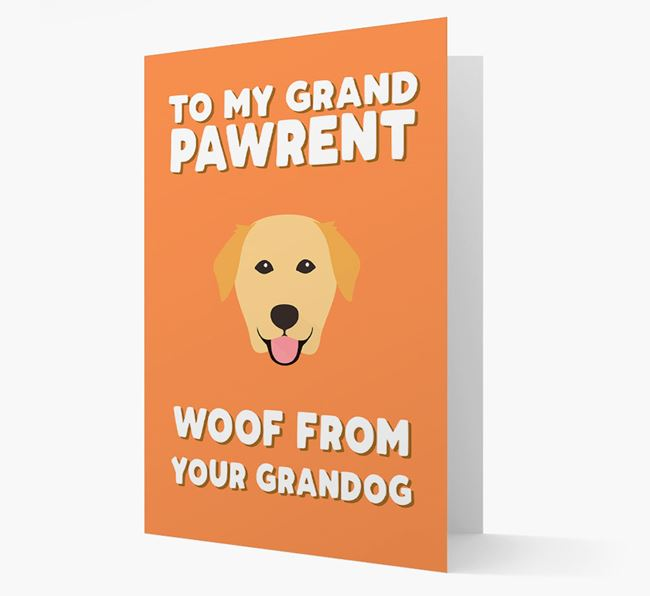 'To My Grandpawrent' - Personalised Golden Labrador Card