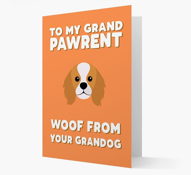 'To My Grandpawrent' - Personalized King Charles Spaniel Card