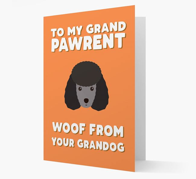 'To My Grandpawrent' - Personalized Miniature Poodle Card