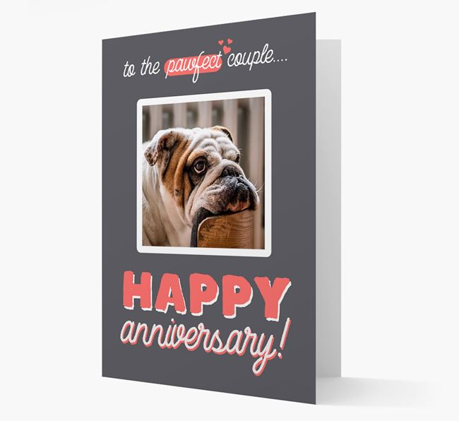'To The Pawfect Couple...' - Personalised English Bulldog Card