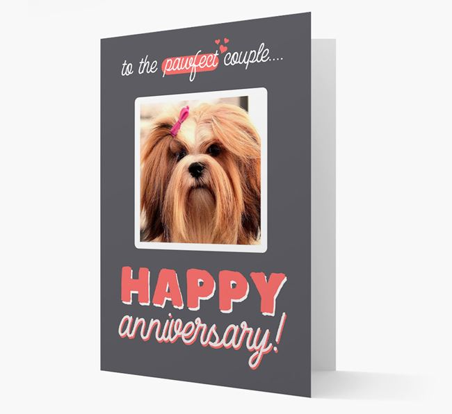 'To The Pawfect Couple...' - Personalised Lhasa Apso Card