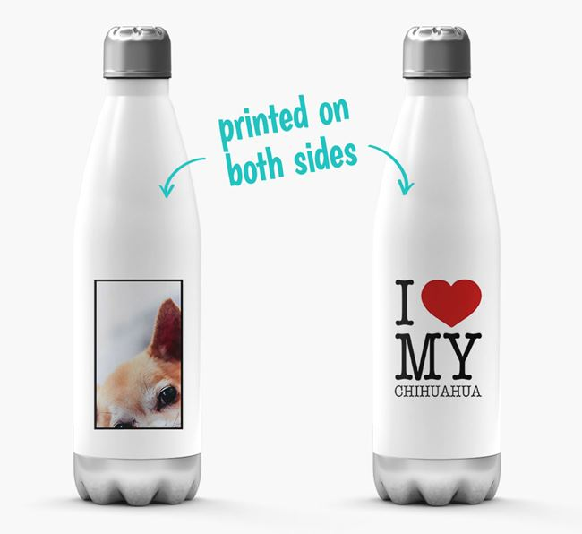 'I Love My Chihuahua ' Personalised Water Bottle