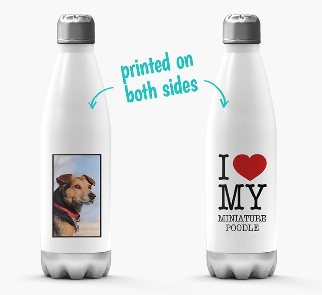 'I Love My Miniature Poodle ' Personalized Water Bottle