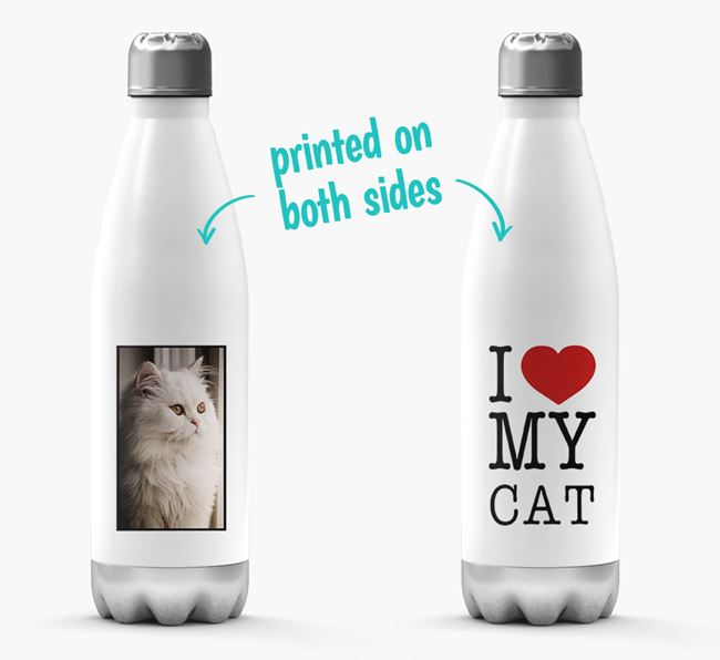 'I Love My Cat ' Personalized Water Bottle