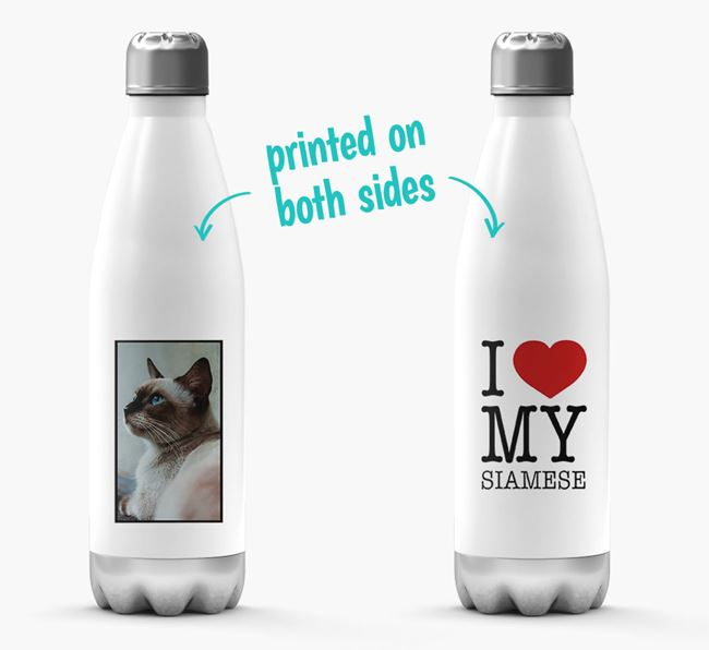 'I Love My Siamese ' Personalised Water Bottle