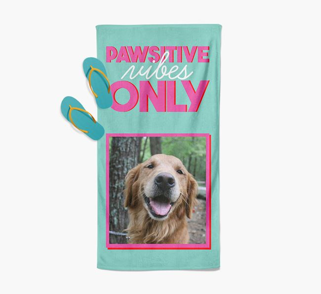 'Pawsitive Vibes Only' Personalised Golden Retriever Photo Upload Towel