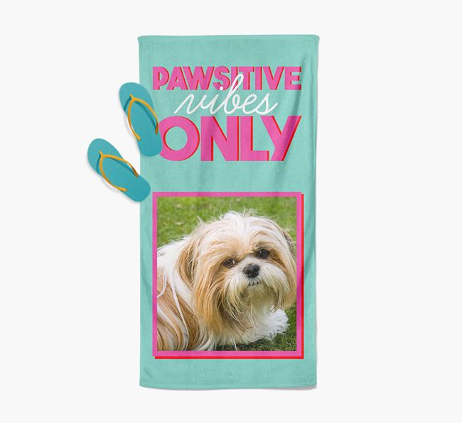 'Pawsitive Vibes Only' Personalised Shih Tzu Photo Upload Towel