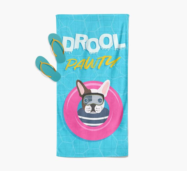 'Drool Pawty' - Personalised French Bulldog Towel