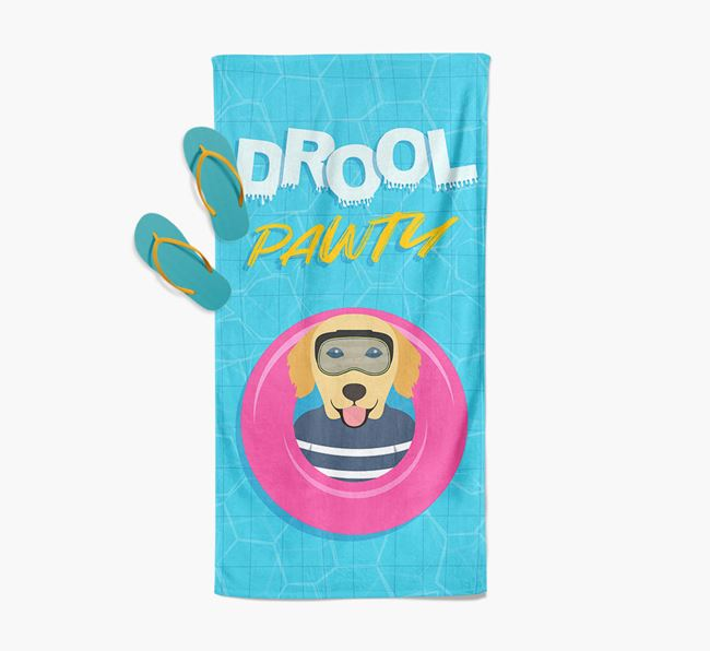 'Drool Pawty' - Personalised Golden Retriever Towel