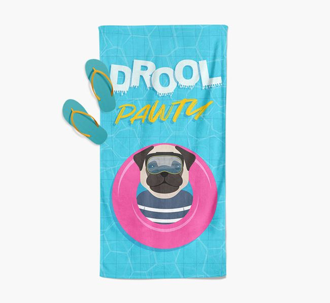 'Drool Pawty' - Personalised Dog Towel
