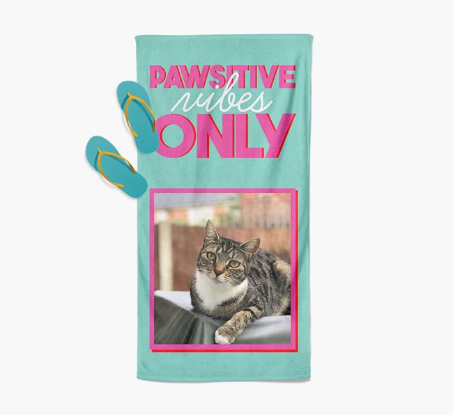 'Pawsitive Vibes Only' Personalized Ashera Photo Upload Towel