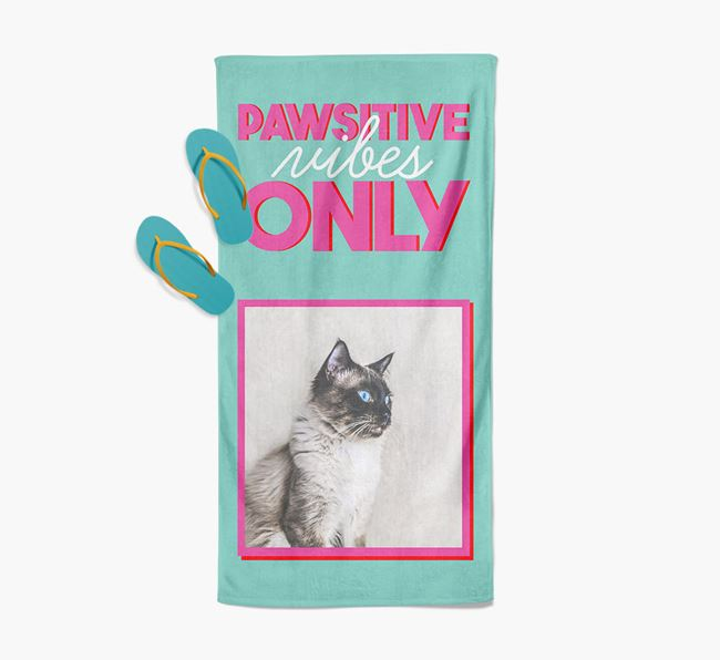 'Pawsitive Vibes Only' Personalized Balinese Photo Upload Towel
