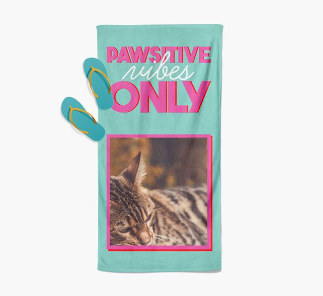 'Pawsitive Vibes Only' Personalized Bengal Photo Upload Towel
