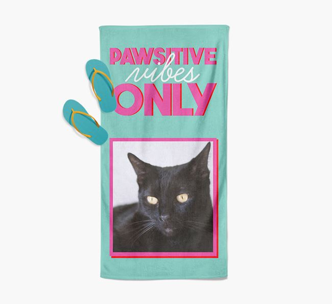 'Pawsitive Vibes Only' Personalized Cat Photo Upload Towel