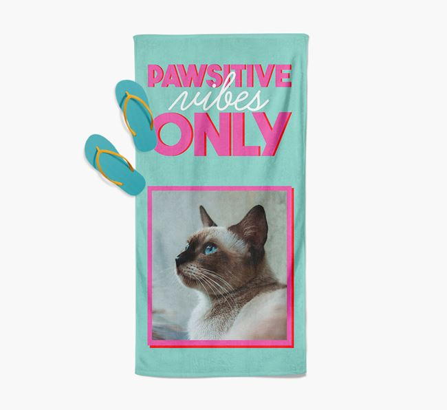 'Pawsitive Vibes Only' Personalized Siamese Photo Upload Towel