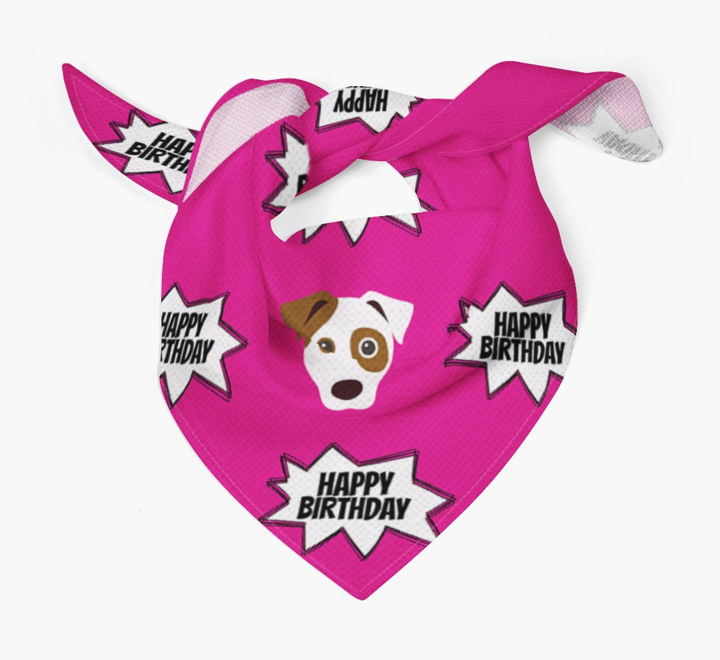 Comic Bang Happy Birthday Dog Bandana Tied