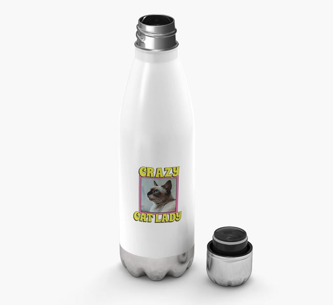 'Crazy Cat Lady' - Personalised Siamese Water Bottle