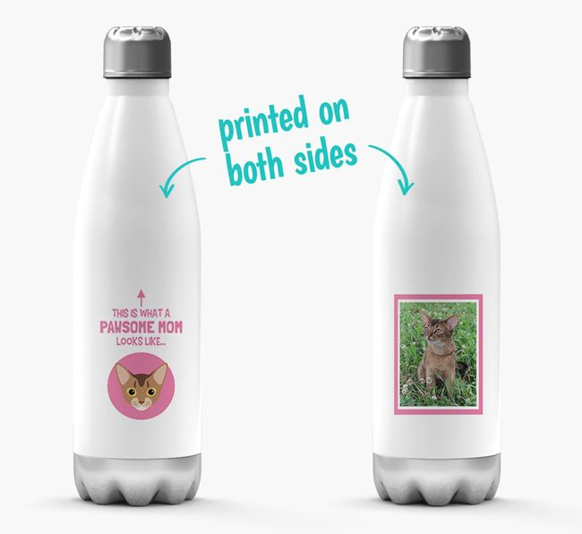 'Pawsome Mom...' - Personalized Cat Water Bottle