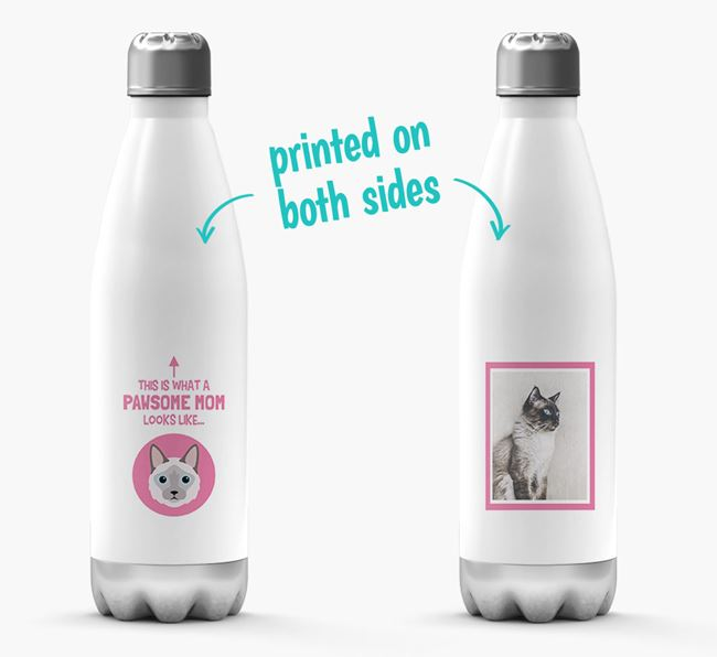 'Pawsome Mom...' - Personalized Balinese Water Bottle
