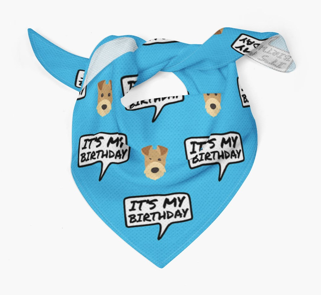 It's My Birthday Airedale Terrier Dog Bandana Tied