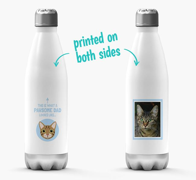 'Pawsome Dad...' - Personalised Cat Water Bottle