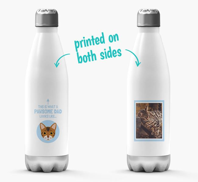 'Pawsome Dad...' - Personalized Bengal Water Bottle