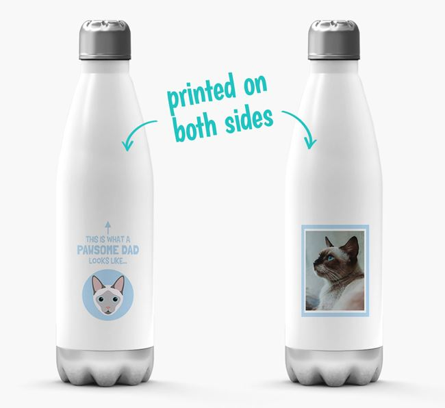 'Pawsome Dad...' - Personalized Siamese Water Bottle