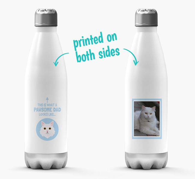 'Pawsome Dad...' - Personalized Cat Water Bottle