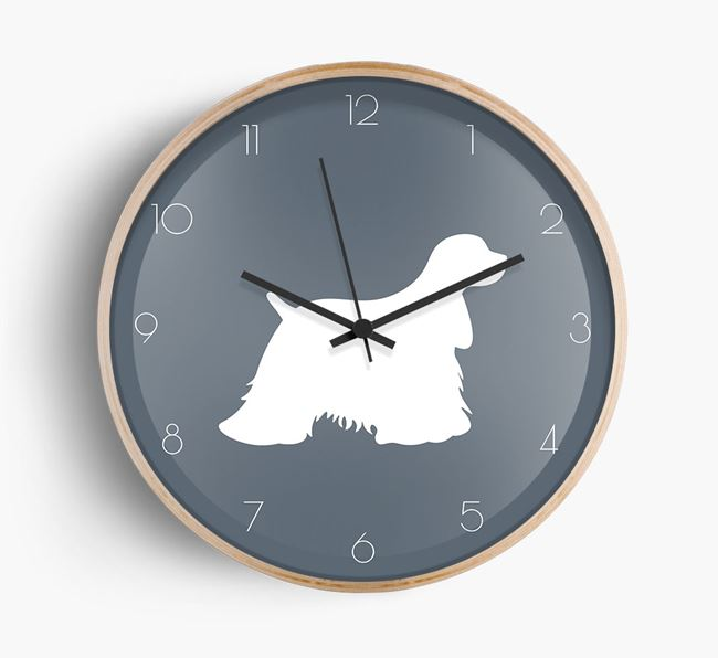 Cocker Spaniel Silhouette Beech Wall Clock