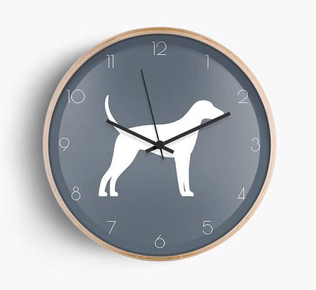 Foxhound Silhouette Beech Wall Clock