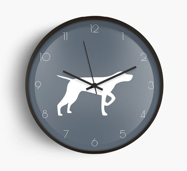 Shorthaired Pointer Silhouette Beech Wall Clock