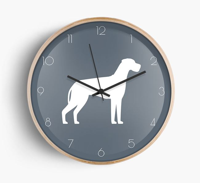 Great Dane Silhouette Beech Wall Clock