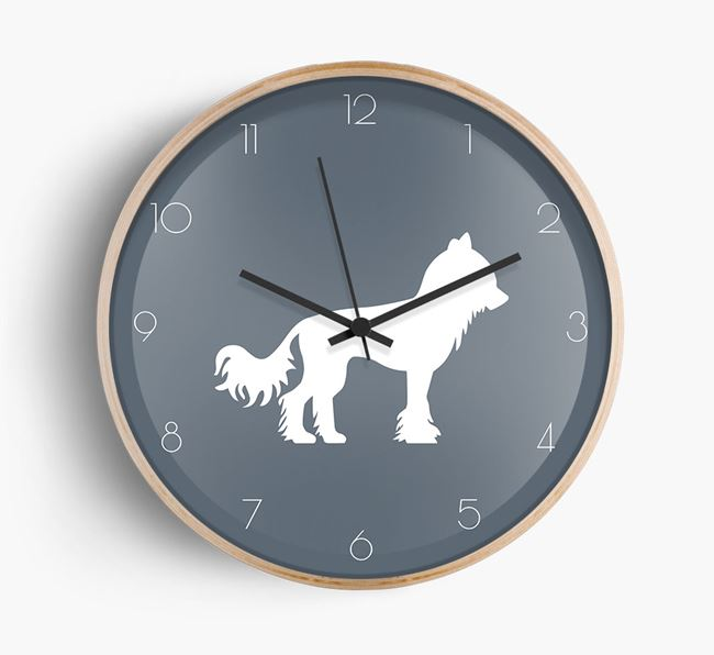 Chinese Crested Silhouette Beech Wall Clock