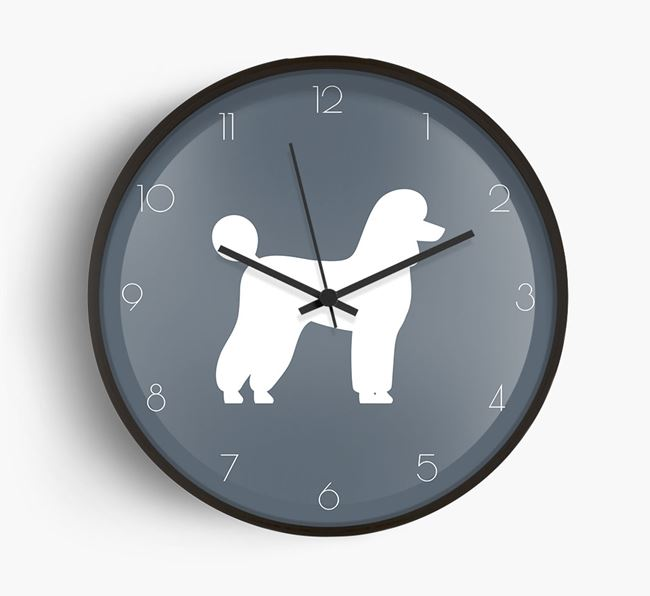 Poodle Silhouette Beech Wall Clock