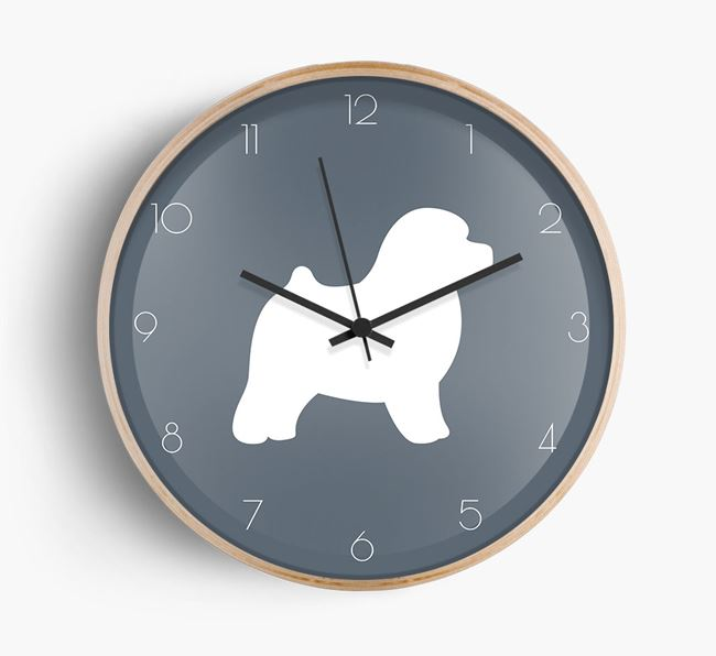 Toy Poodle Silhouette Beech Wall Clock