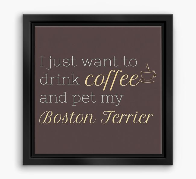 'I just want to drink coffee and pet my Boston Terrier' Boxed Canvas Print