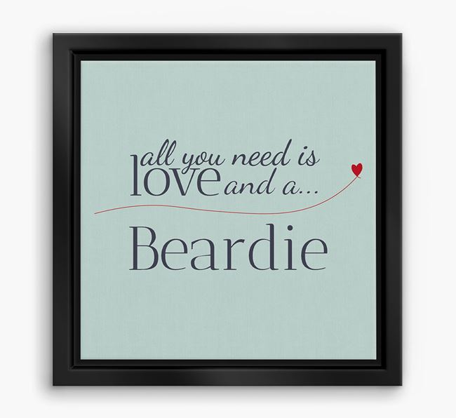 'All You Need is Love...' Bearded Collie Boxed Canvas Print