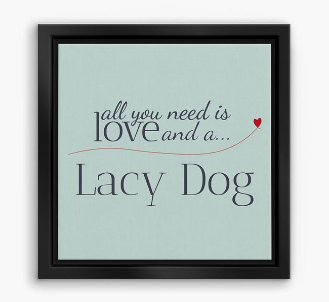 'All You Need is Love...' Blue Lacy Boxed Canvas Print