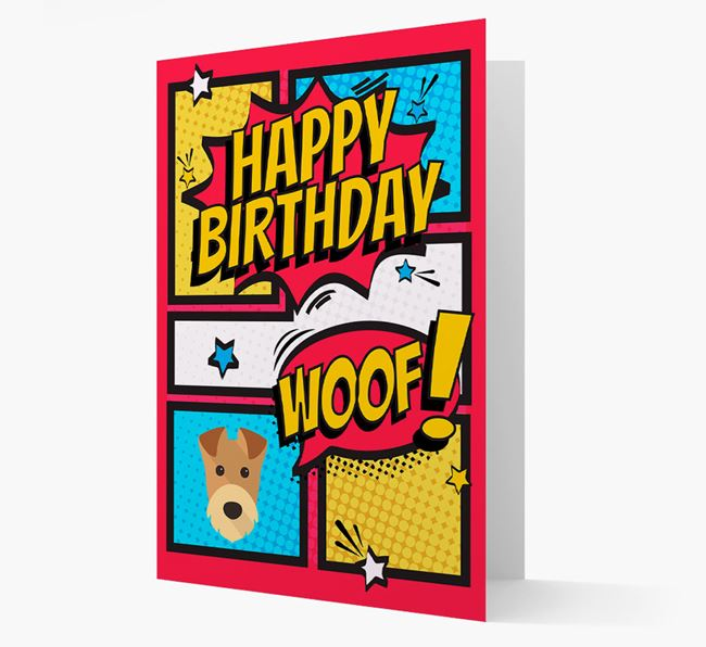 Comic Book Style Airedale Terrier Birthday Card