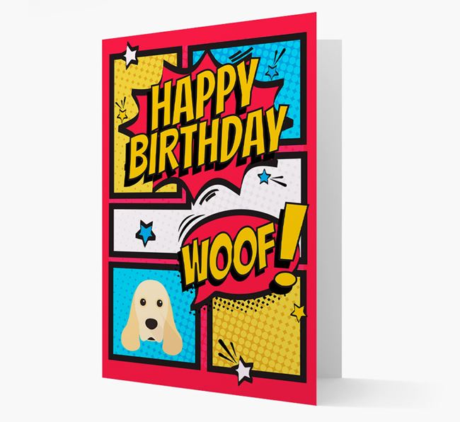 Comic Book Style American Cocker Spaniel Birthday Card
