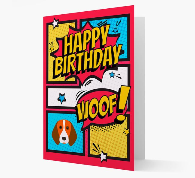 Comic Book Style Beagle Birthday Card
