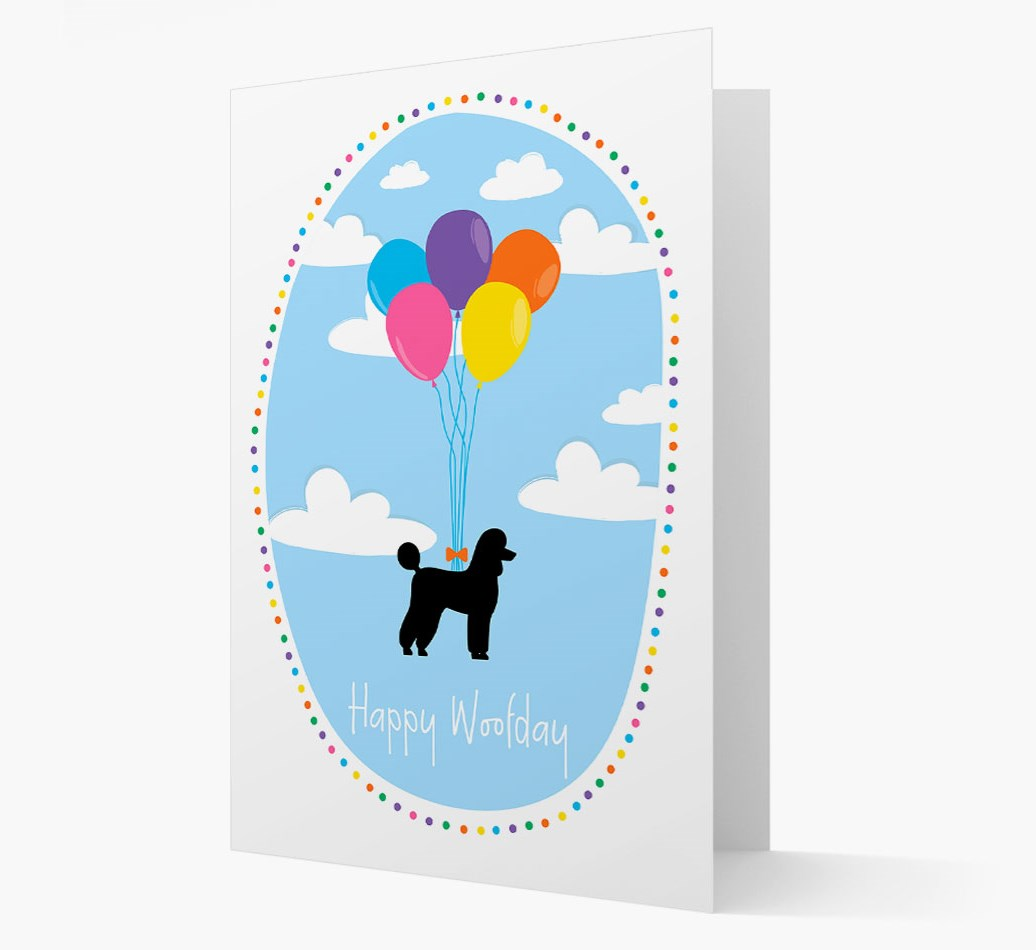 'Happy Woofday' Card with Poodle Silhouette