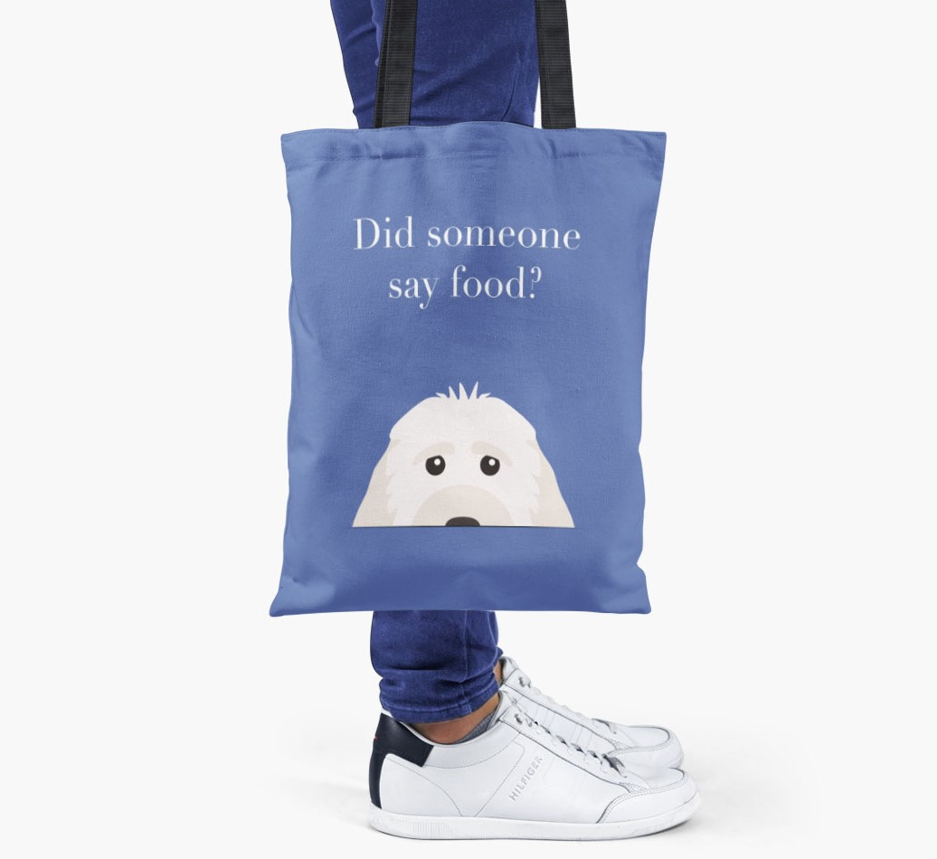 Cockapoo {colour} Did Someone Say Food? Shopper Bag held by woman