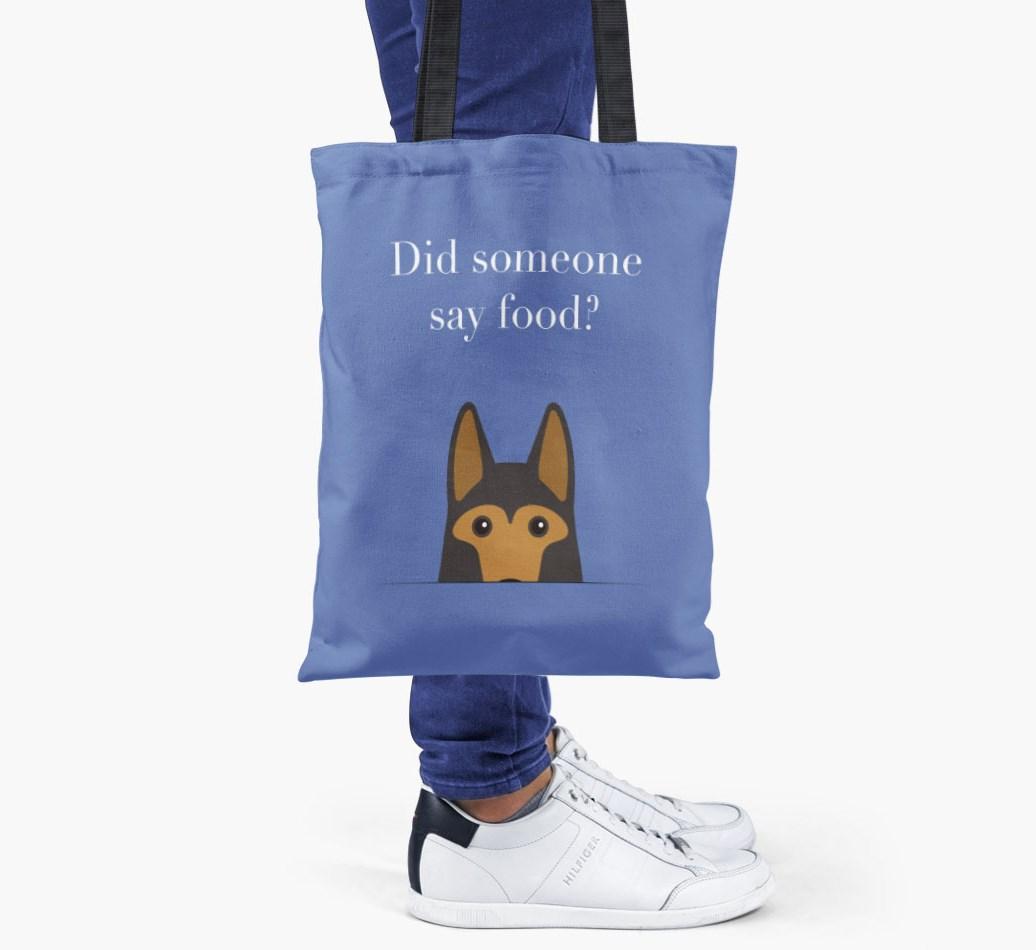 German Shepherd {colour} Did Someone Say Food? Shopper Bag held by woman