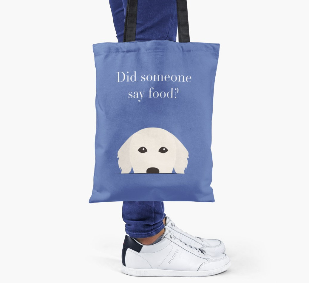 Golden Retriever {colour} Did Someone Say Food? Shopper Bag held by woman