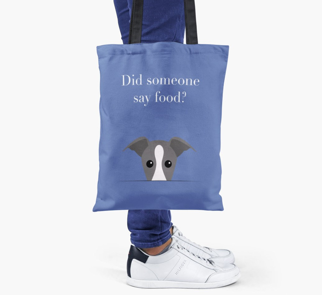 Greyhound {colour} Did Someone Say Food? Shopper Bag held by woman