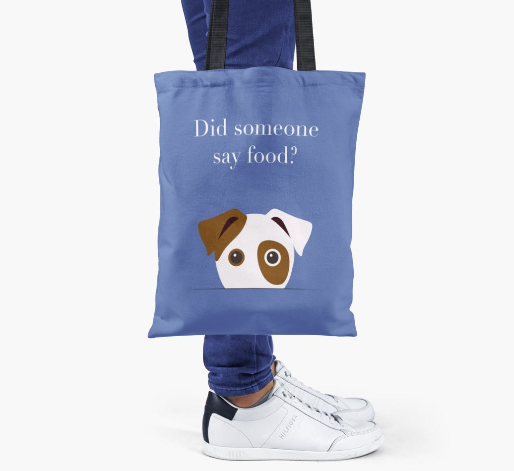 Dog {colour} Did Someone Say Food? Shopper Bag held by woman